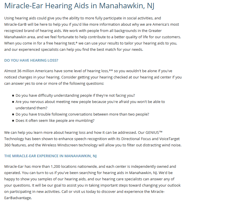 Miracle Ear Of Manahawkin Nj Stafford Square Mall